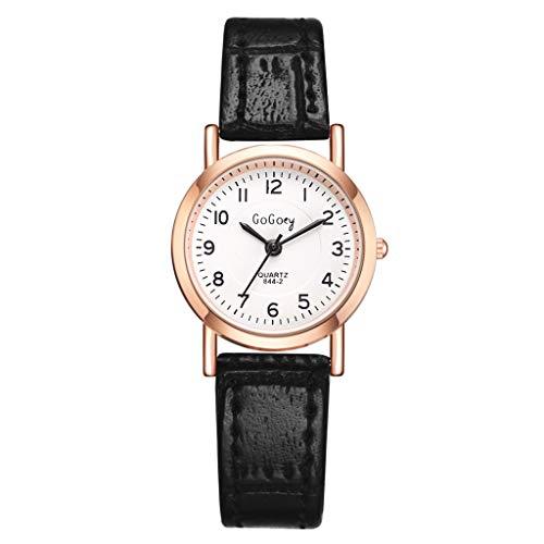 TWISFER Damen Uhr Analog Quarz mit Leder Armband Mode Quarzuhr Edelstahl Fashion Armbanduhr Frauen Rundes Zifferblatt Schwarz Braun Rot Weiß
