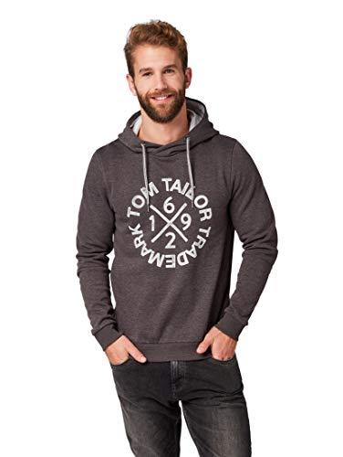 TOM TAILOR Herren 1008656 Sweatshirt, Grau (Tarmac Grey Melange 15101), M