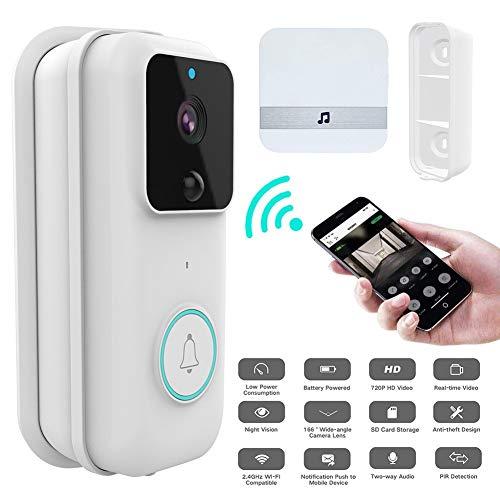 Smart Doorbell Alexa kompatible Video-Türklingel Wireless WiFi 1080p Echtzeit Türklingel Ring Türklingel Pro Winkel Mount Zwei-Wege-Talk mit Indoor Chime Nachtsicht PIR-Erkennung