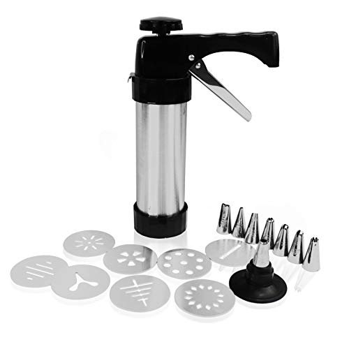 Gun Cookie Press Set,Stainless Steel Cookie Press Biscuit Press Gun Set with 8 Discs Molds and 8 Icing Nozzles Tips for DIY Biscuit Maker and Decoration