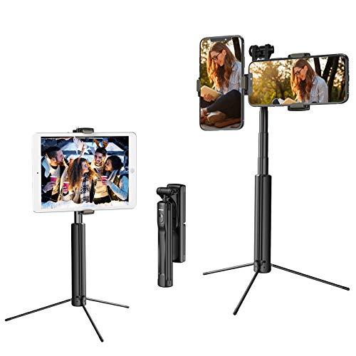 Selfie Stick Stativ für Handy, Mpow 4 in 1 Handy Stativ mit zwei Handyhalter, Bluetooth-Fernbedienung für Live-Streaming, für iPhone 12 mini/12/ 12 Pro Max/11/11 Pro, Galaxy S20, iPad/GoPro/Kamera