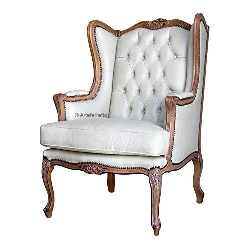 Klassischer Ohrensessel Bergere Holzstruktur mit Sitzkissen, gepolsterter Sessel im klassischen-modern Stil für Wohnzimmer, Ohrensessel mit Sitzkissen mit Polsterung, Made in Italy.