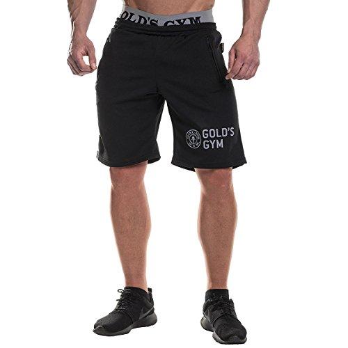 Gold's Gym UK GGSHO069 Herren Premium Workout Large Bund Reißverschluss Tasche Mesh Shorts Schwarz L