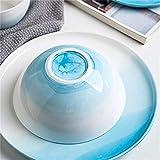 HAILI Tableware, WCS grande de cerámica tazón de arroz, ensalada, cereales, desayuno, o de verduras sopa de fideos Pasta Pot Cuenca bandeja de fruta de 6 pulgadas (tamaño: 6,5 pulgadas graduó gris)