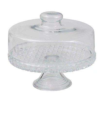 Boleira Colonial com Tampa e Pedestal Prato para Bolo de Vidro Transparente