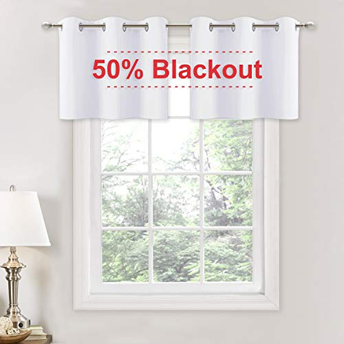 NICETOWN 50% Blackout Curtain Valances, Pure White Grommet Window Curtain Toppers Room Decor Tiers for Nursery/Bedroom/Master Room, 2 Panels, 42W by 18L + 1.2 inches Header