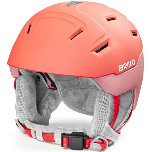 Briko Crystal 2.0 Casque de Ski/Snow, Femmes, Matt Chaos Red-Pink Soft, Large