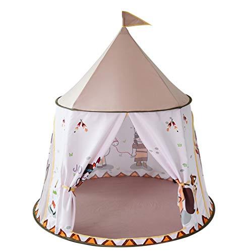 TOYANDONA Kinderen Spelen Tent Indische Stijl Prinses Kasteel Tent Kinderen Speelhuis Verjaardagscadeau Draagbare Yurt Voor Kinderen Peuters Thuis Indoor Buitenspellen (Roze)