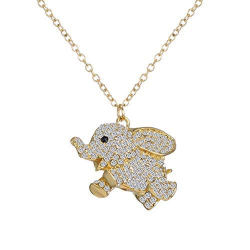 YEESEU Personalisierte Zubehör, Ketten, Sekt Gute glückliche Elefant Anhänger Halskette Gold Strass Clavicle Ketten Opulente Halskette Frauen Schmuck, EIN