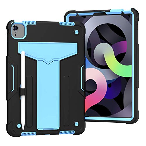 TianTa iPad Air 4 10.9 Case 2020, iPad Pro 11 Inch Case, Hybrid Heavy Duty Defender Shockproof Protective with Built-in Pencil Holder & Kickstand for iPad Air 4th Generation 10.9 Inch - Black/Blue