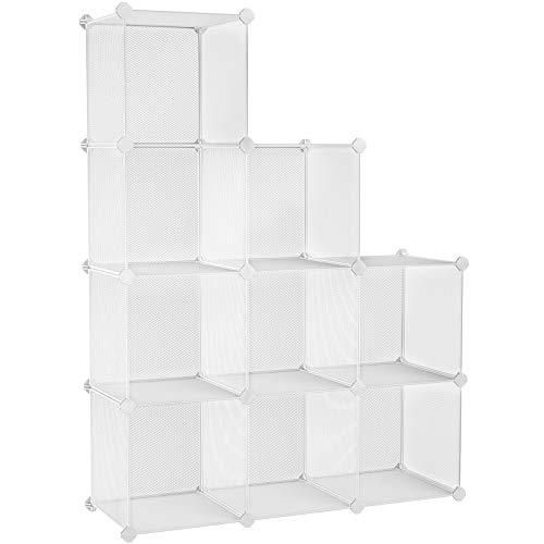 SONGMICS dichtes Metallgitterregal DIY Bücherregal Lagerregal Kleiderschrank Raumteiler stabiles Regalsystem 15 kg jedes Würfel tragbar für Kinder- Wohnzimmer Küche Büro Weiß 93 x 31 x 123 cm LPL115W