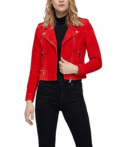 VERO MODA Damen Jacke Wildleder vmRoyce Kurze Leder-Jacke rot, Farbe:Rot, Größe:XS