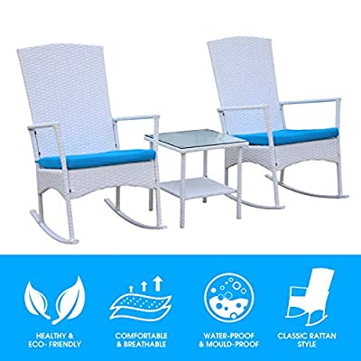 Outdoor PE Wicker Rocking Chair 3 Piece Patio Bistro Set Conversation Furniture White Rattan with Glass Coffee Table, Blue Cushion