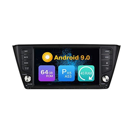 KUNFINE Android 10.0 Ocho nucleos Ram 4G ROM de 64 GB Autorradio GPS Navegación Control del Volante DVD Unidad Principal Estéreo Enlace Espejo WiFi Bluetooth 4G PorSKODA Fabia 2015 2016 2017 Deckless