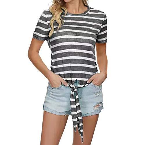 sunnymi Camisetas para mujer, moda para mujer, escote en O, rayas y cordones, manga corta negro S