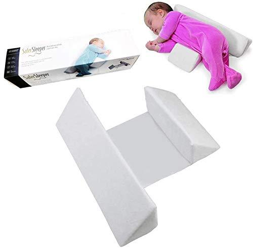 Seitenstützkissen für Babys, Baby Schlafkissen aus atmungsaktiver Velvet, Einfach zu verwenden, Abnehmbares und waschbares Kissen gegen Überschlag Drei Farben (Weiß)