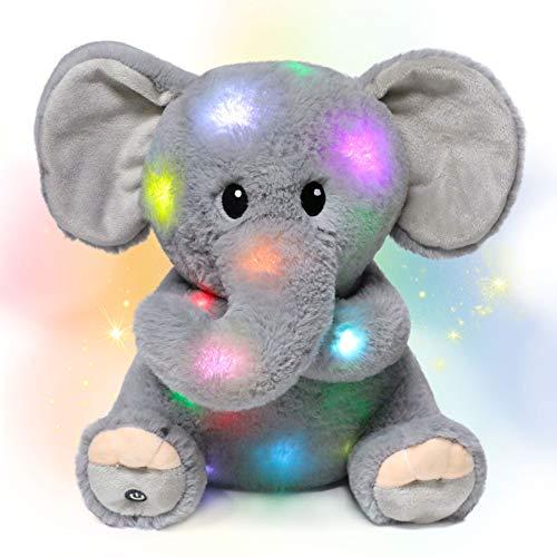 Hopearl LED Plush Elephant Light up Stuffed Animal Floppy Night Lights Glow in The Dark Birthday Gifts for Kids Toddler Girls, Gray, 11''