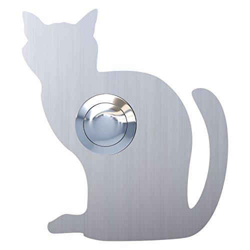 Klingeltaster, Design Klingel, Türklingel Edelstahl Katze,Luna'' - Bravios