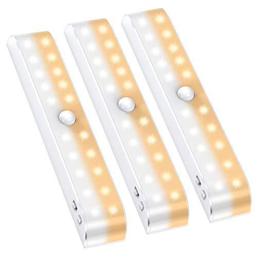 SiFree 人感センサー ライト USB充電式 30-LED 三段階調色 ワイヤレス夜間ライト クロゼットライト フットライト 押し入れライト 貼り付け型 階段・クロゼット・ロッカー・玄関・洗面所 自動点灯 消灯 夜間ライト