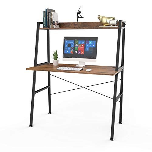 DESIGNA Computer Desk with Bookshelf, Student Writing Desk, 43 inch Space Saving Office Home Desk...