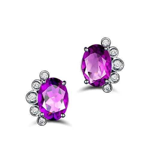 Bishilin Pendientes Mujer Plata de Ley S925 Anillos de Mujer Ajuste Cómodo Forma de Florete Púrpura Oval Cristal Piedra del Zodíaco Pendiente de Boda de Compromiso Muy Pulido Plata