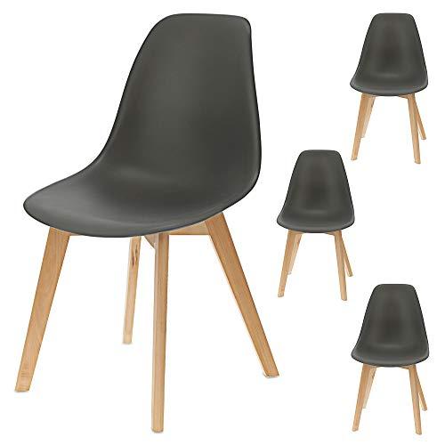 Esszimmerstuhl 4er Set | im skandinavischen Lounge Möbel Stil | mit stabilen Holzbeinen aus Buche | (4X grau)