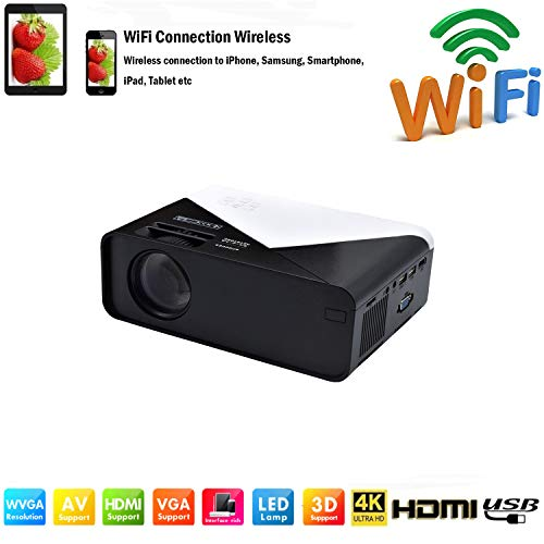 SOTEFE® WiFi Proyector Portable 6000 Lumens-Mini LED Proyector Portátil 1080P Full HD Video Multimedia para iPhone/Samsung/Sony/Hauwei Smartphone Compatible con HDMI/USB/Tarjeta SD/VGA/AV/TV Box/PS4
