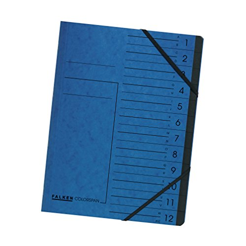 Original Falken Premium Ordnungsmappe. Made in Germany. aus Extra starkem Colorspan-Karton DIN A4 12 Fächer und 2 Gummizüge mit Organisationsdruck Blau Ringmappe Register-Mappe