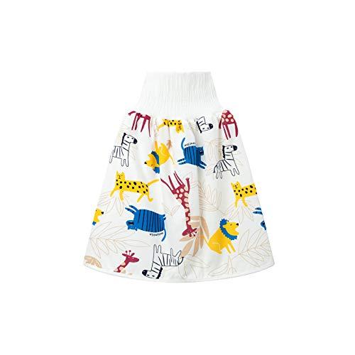 Falda de Pañales para Niños, Morbuy 2 en 1 Lavable Falda Aprendizaje Limpia Falda Pañal de Bebé Pantalones de Cintura Alta a Prueba de Fugas para Un Buen Sueño (Jirafa Cebra,L)