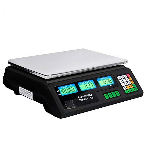 MAOX Elektronischer Preisrechnende Waage, Plattformwaage mit Highlight LED-Anzeige, Edelstahl-Digital-Preis Wiegen Postindustrie Gewerblich Geschäft Scale (Kapazität: 40KG / 5g, Farbe: Schwarz)