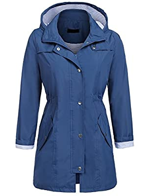 UNibelle Rain Jacket Women Waterproof with Hood Lightweight Raincoat Outdoor Windbreaker (Navy, XXL)