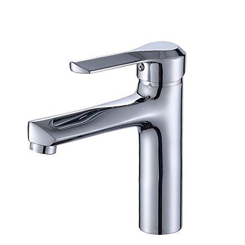 GonFan Fregadero Cuarto de baño Grifo Cuenca del Fregadero Grifo de Lavabo de baño de Cobre Agua fría y Caliente del Grifo baño Grifo (Color : Silver, Size