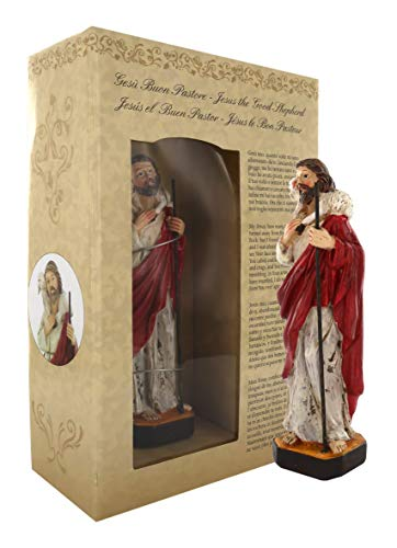 Ferrari & Arrighetti Statua di Cristo Buon Pastore di 12 cm in Confezione Regalo con segnalibro in IT/EN/ES/FR