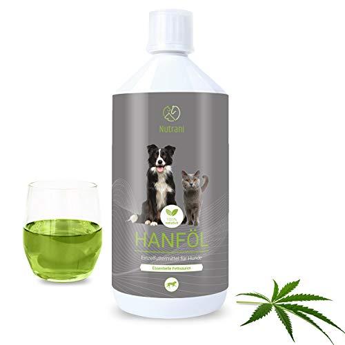 Nutrani Hanföl für Hunde | 1 Liter kaltgepresst – Natürliches Futteröl mit essentiellen Fettsäuren (Omega 3 + Omega 6) trägt zur vitalen Haut und glänzendem Fell bei | Ideal beim Barfen (1000 ml)