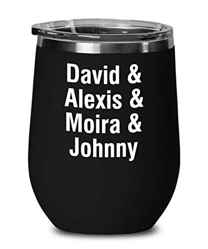 Vaso de vino con tapa, serie de TV David Alexis Moira Johnny Sitcom Televisión Canadiense con cita única actor actriz, taza de viaje de acero inoxidable, color negro