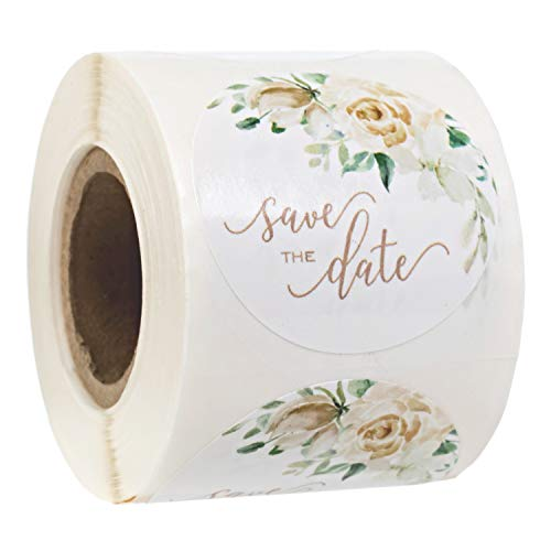 """Cream Floral Save The Date Watercolor Stickers / 1.5"""" Spring Wedding Labels / 250 White Modern Engagement Stickers"""