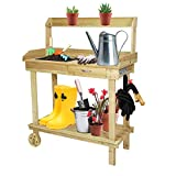 LUCKYERMORE Potting Bench Table Wooden Gardening Plant Workstation Natural Solid Wood with Drawer Sink Hook Open Shelf for Outside Patio Lawn Garden, Banco para macetas
