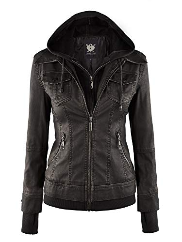 Lock and Love LL WJC664 Womens Faux Leather Jacket with Hoodie XL Black