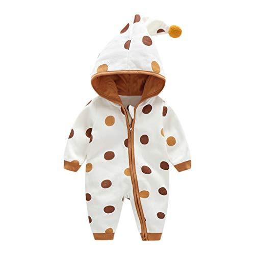 Newborn Winter Warm Jumpsuit,Jchen Unisex Baby Polka Dot Print Hooded Thicken Warm Snowsuits Jumpsuit for 0-24 Months Brown