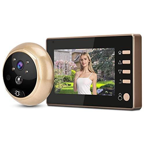 ZCZZ Videoportero de 4.3in 960p Videoportero Inteligente Videovigilancia con cámara de detección de Movimiento Pir Modo de grabación y Tiempo de Apagado automático Visor de Mirilla de Video para