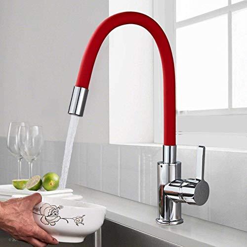 5151BuyWorld keukenkraan, slang, zwart, chroom, spoelbakarmatuur, van zacht rubber, warm water, koudwaterkraan, mengkraan, brug gemonteerd, rotatie, keukenkraan Red Pipe