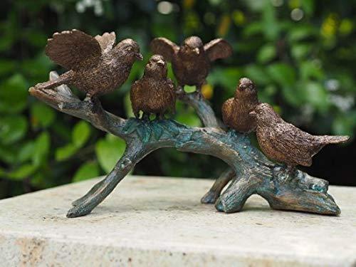Tuinbeeld - bronzen Beeld - voor binnen en buiten - beeld vogels op tak - Bronzartes