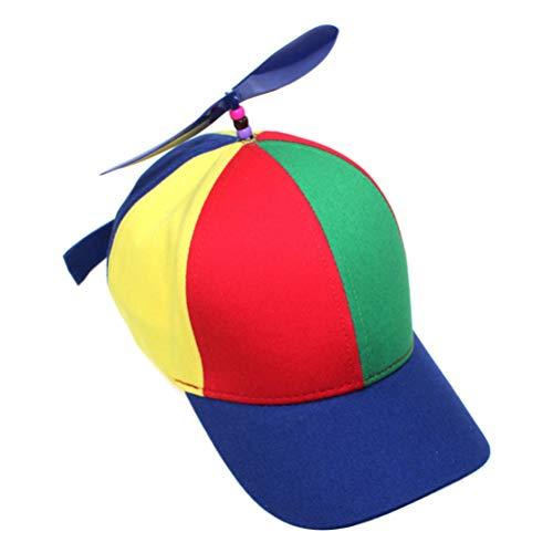 Atrumly Chapeau de baseball avec hélice multicolore réglable unisexe avec visières (50-54 cm)