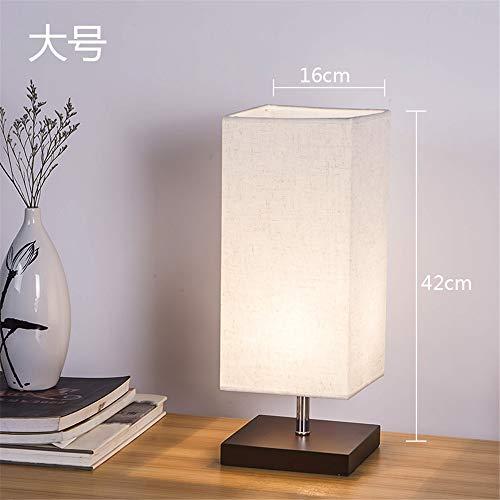 YU-K - Lámpara de mesa de noche para escritorio, salón, dormitorio, lámpara de mesa de noche regulable, con cubierta de objetivo de 16 x 42 cm, color gris y blanco, interruptor de presión