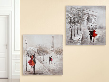 GILDE Bild Gemälde Pariser Schirmpaar grau/Creme/rot, Triumphbogen oder Eiffelturm Länge 2 cm Breite 60 cm Höhe 60 cm 38750
