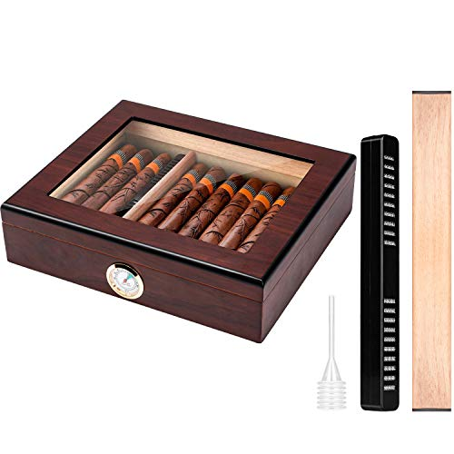 Cigar Humidor Box with Humidifier,Hygrometer and Movable Divider,Clear-Top Visible Desktop Cedar Storage Case Holds 10-25 Cigars