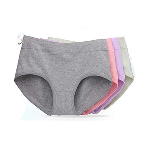 Egurs dames katoenen onderbroeken 4-delig pakket gemiddelde taille ademende slip comfortabel ondergoed (grijs, garnalenrood, huidskleur, paars)