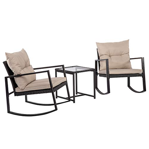 FDW Patio Wicker Furniture Set 3PCS Outdoor Rocking Chair Rattan Sofa Garden Coversation Set with Two Chairs and One Coffee Table