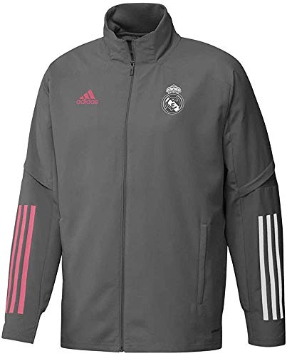Adidas Real Madrid Temporada 2020/21 Chaqueta Entrenamiento con Cremallera Oficial, Unisex, Gris, L