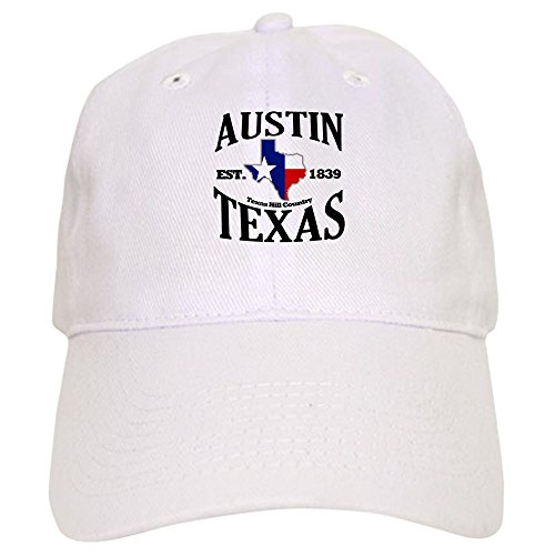 CafePress Austin, Texas Texas Hill Country Towns Baseball Cap with Adjustable Closure, Unique Printed Baseball Hat White